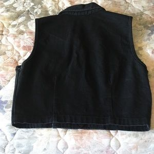Wanted Tops - Black Denim Vest w/ silver buttons/embellishments